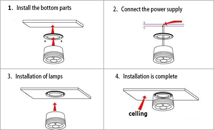 Circular LED downlight can installation