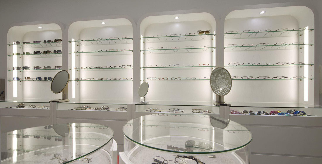 Optical shop design, store design, lighting design. Eyewear