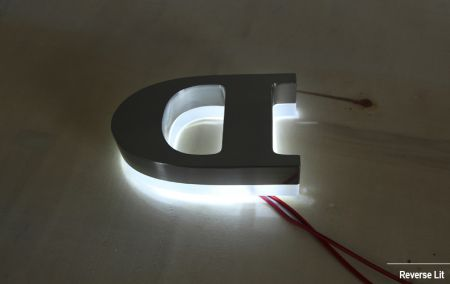 Brushed Mirror Reverse Lit Letters Metal Face Acrylic