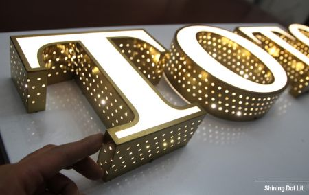 Side Dot Lit Amp Face Lit Acrylic Channel Letter Gold