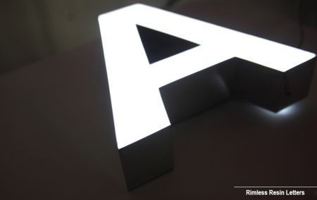 Black White Resin Face Lit Channel Letters Rimless Stainless Steel UL Listed LED Signage Illuminated