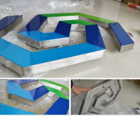 Colors Resin Face Lit Channel Letters Rimless Stainless Steel Bounded UL Listed LED Signage Illuminated